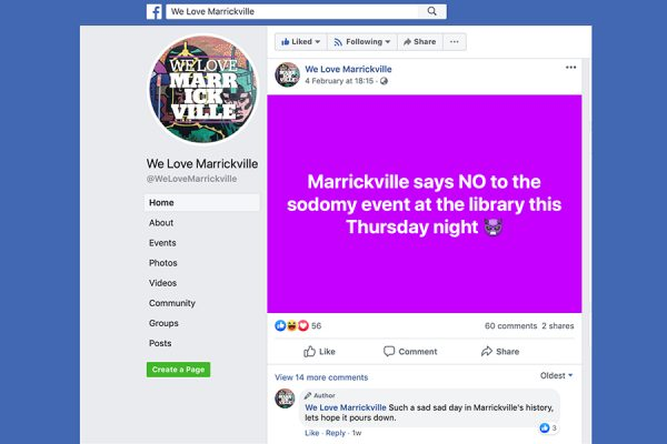 Anti-gay troll riles Marrickville Facebook community