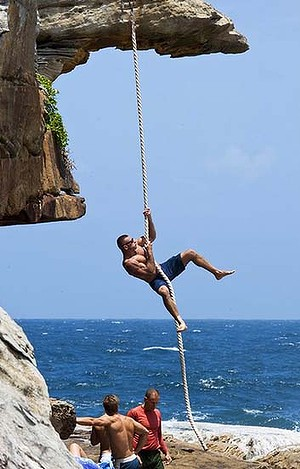 Beach climb on the ropes